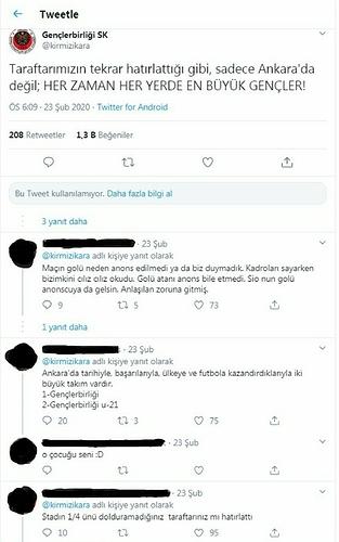 Gençlerbirliği twitter hesabının 23.02.2020 tarihli açıklaması