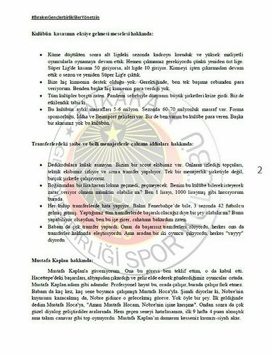 Başkan Murat Cavcav ile gerçekleşen toplantı hakkındaki notlar - 2
